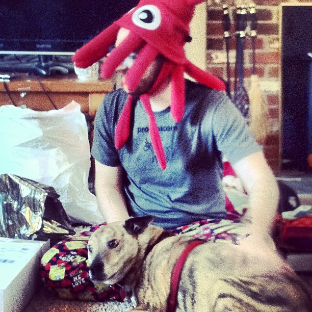 .@therightchoyce got a pretty sick squid hat.