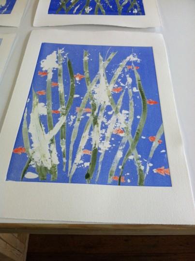 Fish in seaweed print