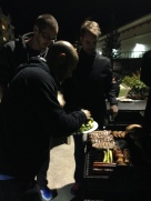 Loading up the grill with veggies