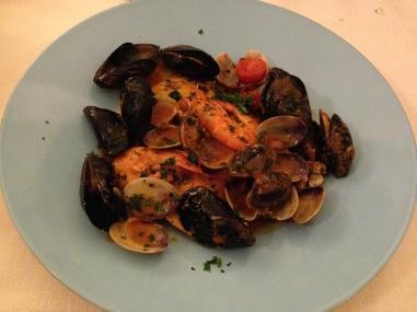 Sea bass raviolis with seafood