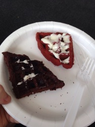 Brownie and Red Velvet waffles